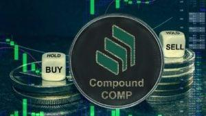 A concept token for Compound (COMP) with a stock chart in the background.
