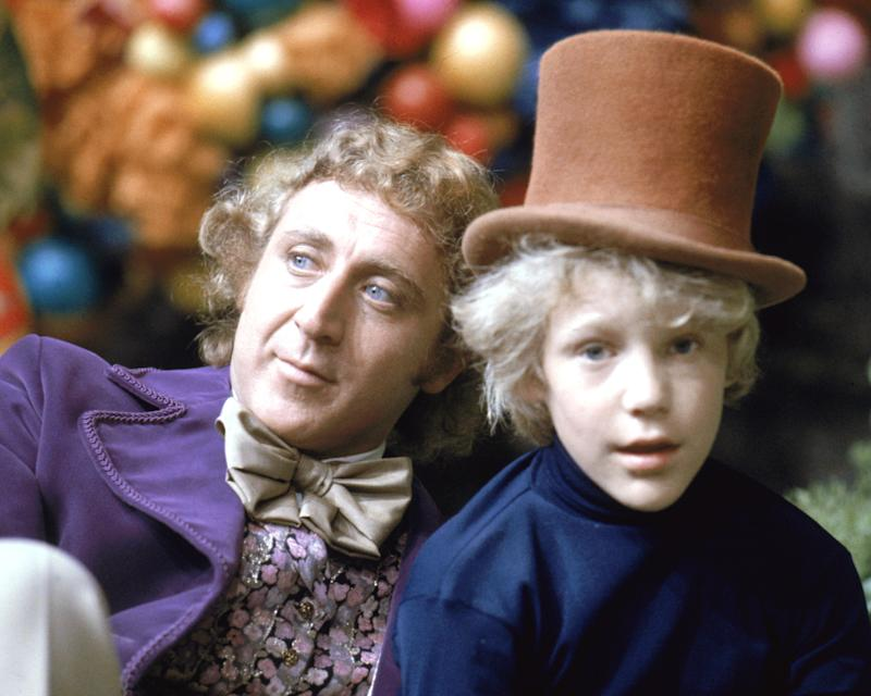 "Peter Ostrum as Charlie Bucket, with Gene Wilder as Willy Wonka, on the set of ""Willy Wonka & the Chocolate Factory"" in 1971. (Silver Screen Collection via Getty Images)"