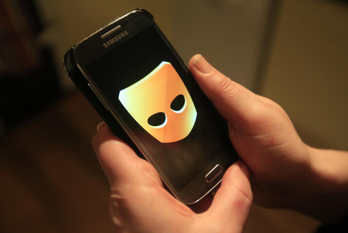 The Grindr app in use on a Samsung smartphone.