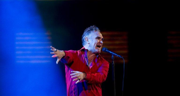 British singer Morrissey performs during the 53nd Vina del Mar International Song Festival on February 24, 2012 in Chile