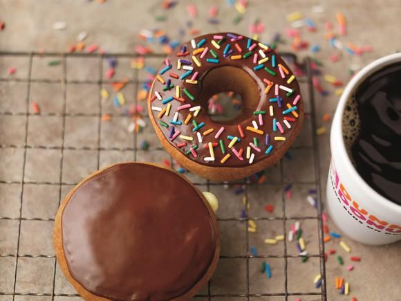Dunkin Donuts coffee and and doughnuts