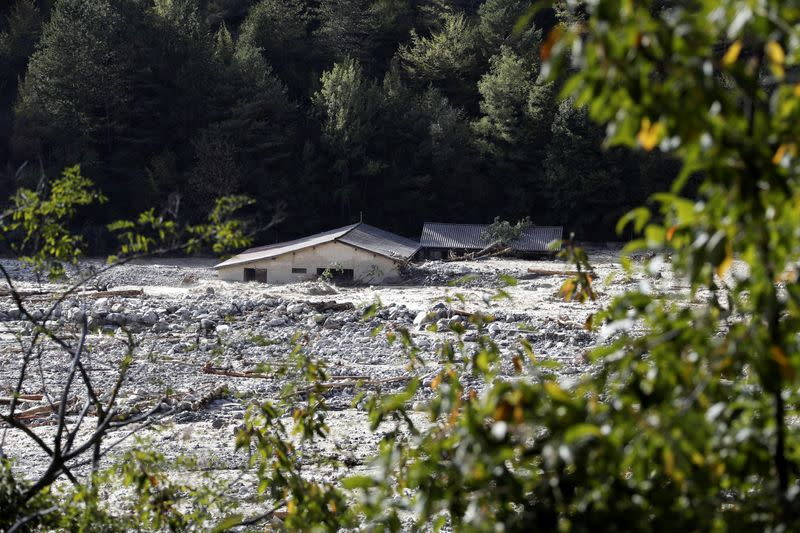 A view shows a house flooded by Vesubie river, after heavy rainfall hit southern France