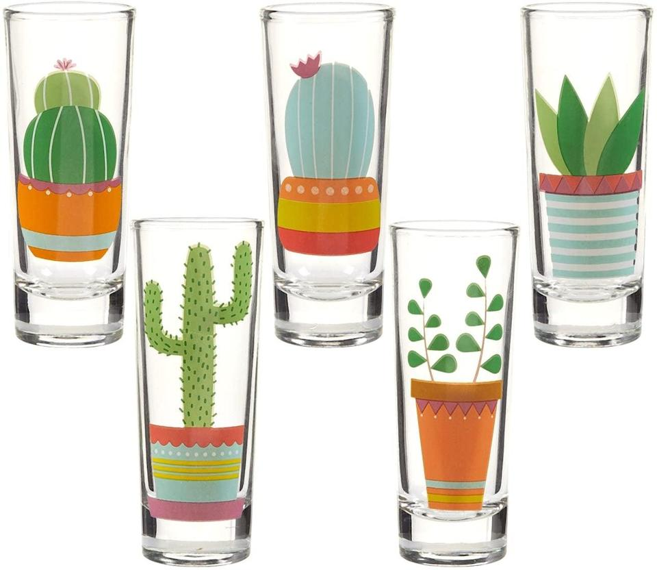 <p>If they are a plant parent, they'll love these adorable <span>Cacti Shot Glasses with Colorful Print Set of 5</span> ($13).</p>