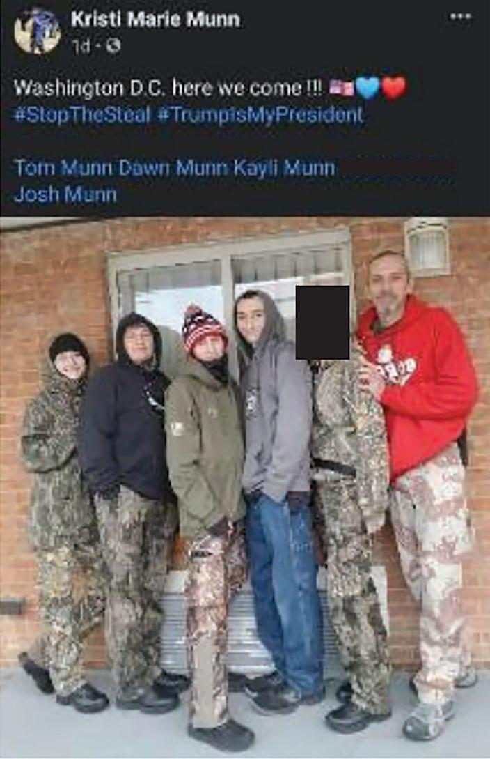 Photo of Munn family that investigators took from social media that appears to show them ready to depart for Washington.