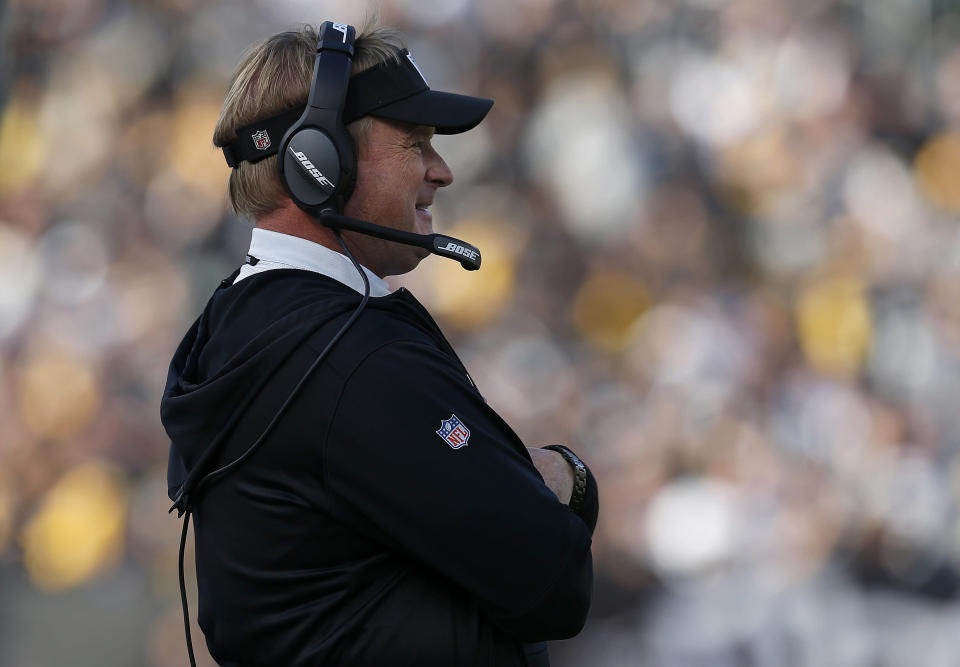 Raiders head coach Jon Gruden watches during the first half Sunday's game against the Steelers. (AP Photo/D. Ross Cameron)