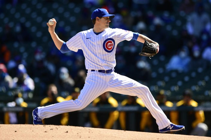 Chicago Cubs starter Kyle Hendricks delivers a pitch during the first inning of a baseball game against the Pittsburgh Pirates Thursday, April 1, 2021, on opening day at Wrigley Field in Chicago. (AP Photo/Paul Beaty)