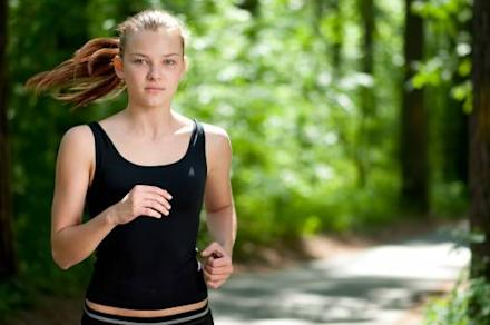 Finding time to run and girl running in forest