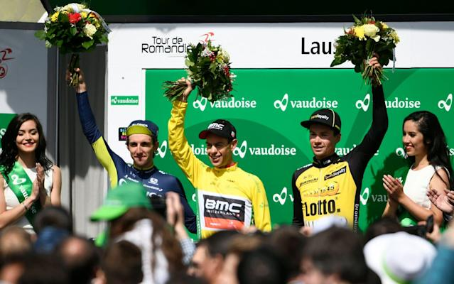 Simon Yates (left) finished on the second step of the podium behind Richie Porte (centre), while Primoz Roglic was third at the Tour de Romandie in Switzerland - KEYSTONE