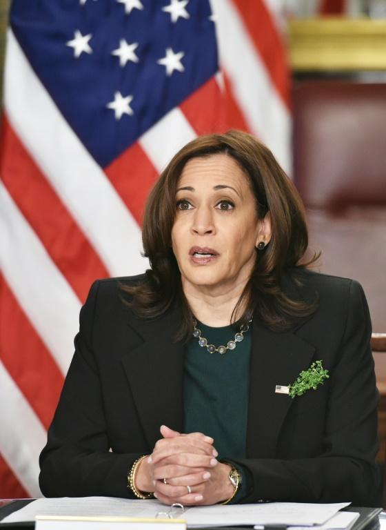 """US Vice President Kamala Harris, pictured on March 17, 2021, has called the situation on the Mexican border a """"huge problem."""""""