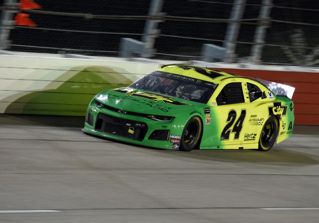 William Byron drives out of Turn 1 during a NASCAR Cup Series auto race on Sunday, Sept. 1, 2019, at Darlington Raceway in Darlington, S.C. (AP Photo/Richard Shiro)