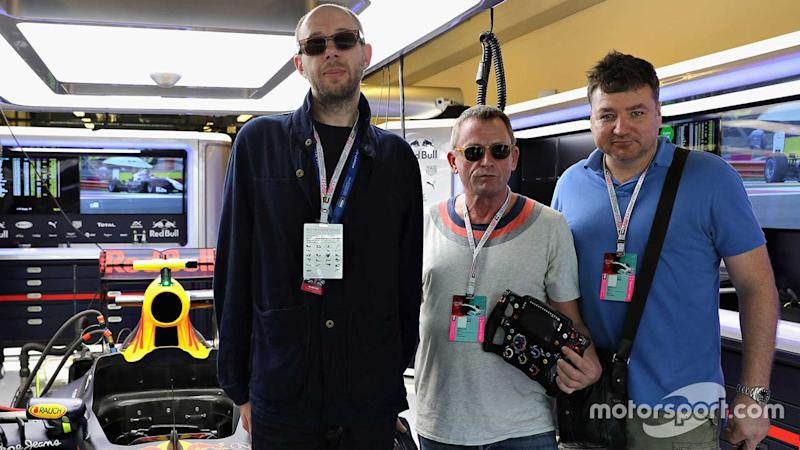 The Chemical Brothers in the Red Bull Racing garage at Abu Dhabi GP 2016