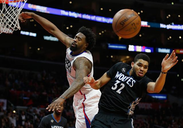 LOS ANGELES, CA - FEBRUARY 03: DeAndre Jordan #6 of the Los Angeles Clippers and Karl-Anthony Towns #32 of the Minnesota Timberwolves battle for a loose ball during the second half of a game at Staples Center on February 3, 2016 in Los Angeles, California. NOTE TO USER: User expressly acknowledges and agrees that, by downloading and or using this photograph, User is consenting to the terms and conditions of the Getty Images License Agreement. (Photo by Sean M. Haffey/Getty Images)