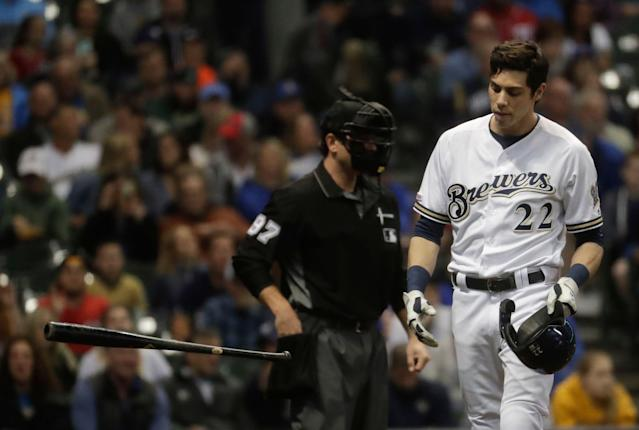 Christian Yelich doesn't strike out often, but it happened twice on Wednesday. (AP Photo/Morry Gash)
