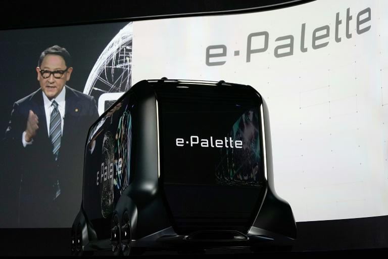 President of Toyota Motor Corporation Akio Toyoda introduces the e-Palette Concept Vehicle, a fully autonomous vehicle for ridesharing and retail