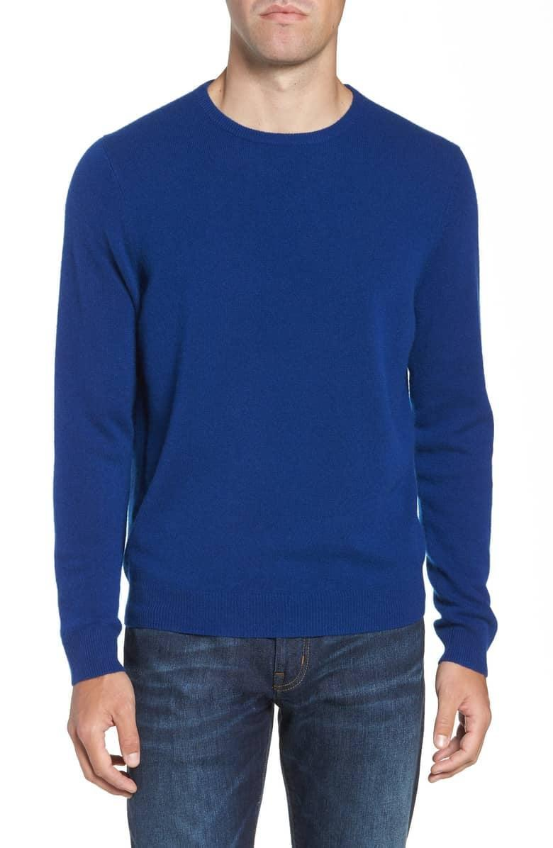 <p>If he didn't know what cashmere was before, he will now, thanks to this cozy <span>Nordstrom Men's Shop Cashmere Crewneck Sweater</span> ($145).</p>