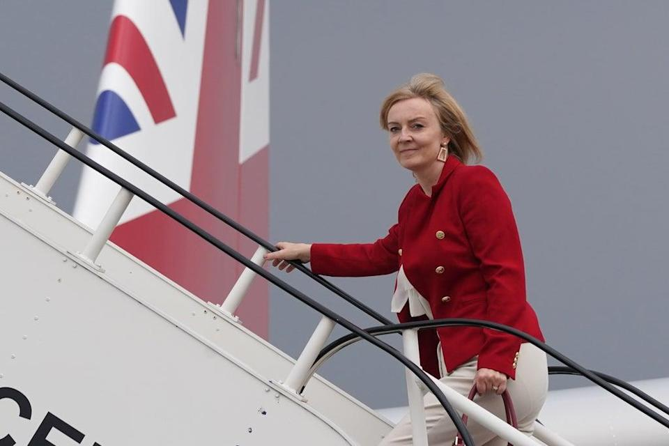 Foreign Secretary Liz Truss boards RAF Voyager at Stansted Airport ahead of a four-day visit to New York and Washington. (Stefan Rousseau/PA) (PA Wire)
