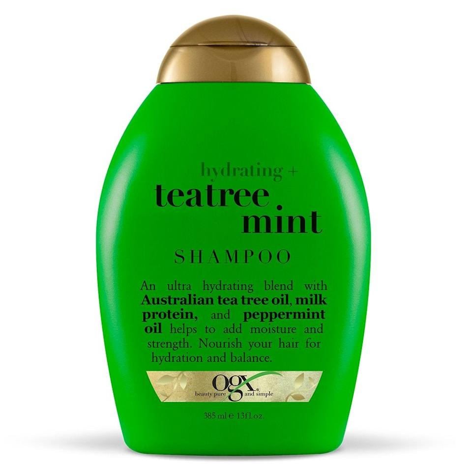 """<h3><a href=""""https://amzn.to/2Pdcncu"""" rel=""""nofollow noopener"""" target=""""_blank"""" data-ylk=""""slk:OGX Hydrating + Tea Tree Mint Shampoo"""" class=""""link rapid-noclick-resp"""">OGX Hydrating + Tea Tree Mint Shampoo</a></h3><br>Zeichner name checks this drugstore favorite formula, which is infused with peppermint oil to remove buildup and leave behind a fresh, tingly finish.<br><br><strong>OGX</strong> Hydrating + Tea Tree Mint Shampoo, $, available at <a href=""""https://amzn.to/2Pdcncu"""" rel=""""nofollow noopener"""" target=""""_blank"""" data-ylk=""""slk:Amazon"""" class=""""link rapid-noclick-resp"""">Amazon</a>"""