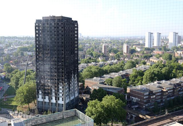 Photo dated 15/06/17 of Grenfell Tower in west London after a fire engulfed the 24-storey building.