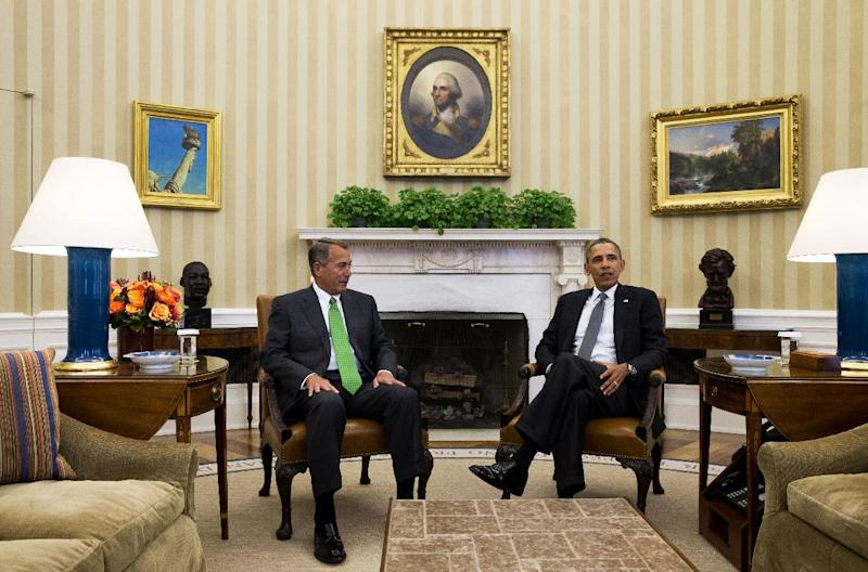 President Barack Obama meets with House Speaker John Boehner of Ohio in the Oval Office of the White House in Washington, Tuesday, Feb. 25, 2014. The Democratic president and Republican speaker met in the Oval Office, their first meeting alone at the White House since December 2012, when they failed to reach agreement on tax reform and spending cuts during deficit-reduction talks. (AP Photo/Jacquelyn Martin)