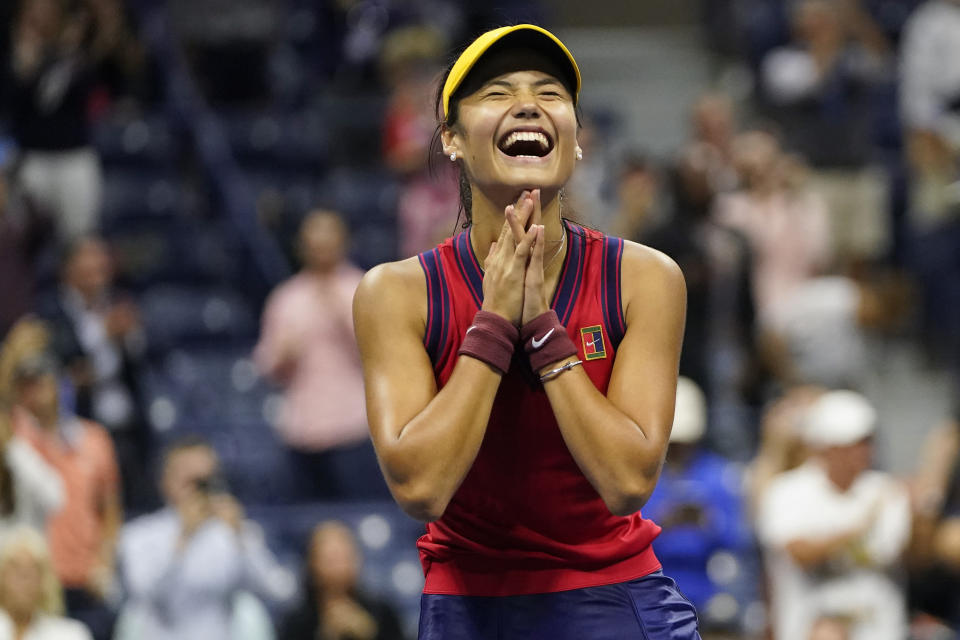 Emma Raducanu, of Great Britain, reacts after defeating Maria Sakkari, of Greece, during the semifinals of the US Open tennis championships, Thursday, Sept. 9, 2021, in New York. (AP Photo/Frank Franklin II)