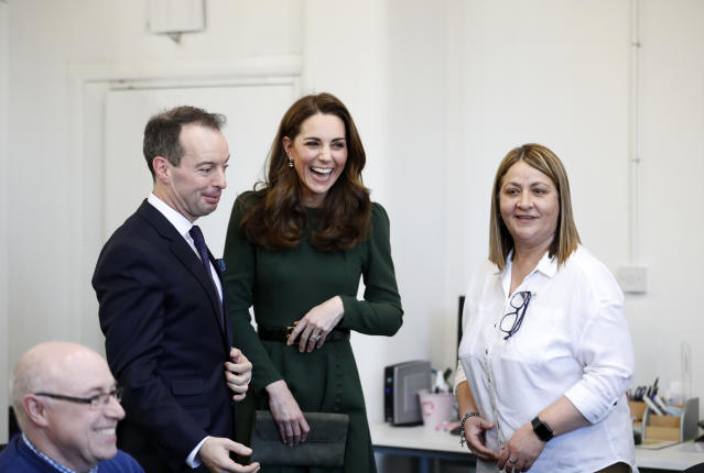 The Duchess of Cambridge wearing the dress in January 2019 during a visit to Family Action. [Photo: Getty]