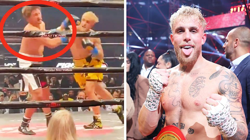 Ben Askren (pictured left) getting knocked out by Jake Paul (pictured right).