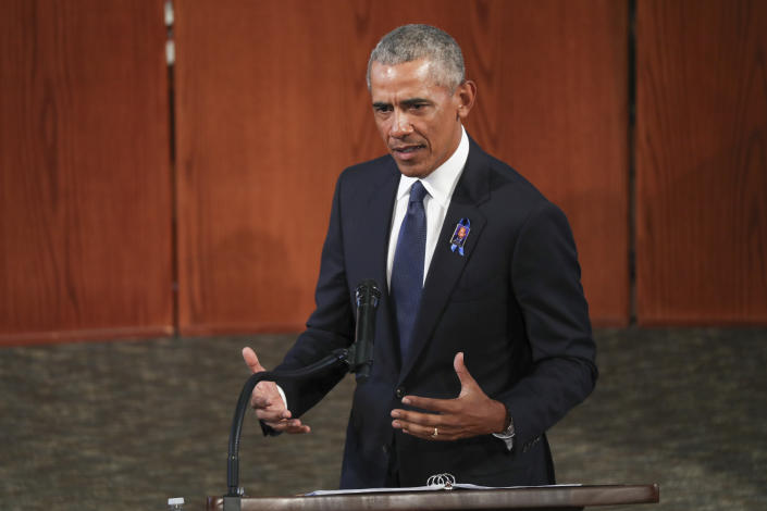 ATLANTA, GEORGIA - JULY 30: Former President Barack Obama gives the eulogy at the funeral service for the late Rep. John Lewis (D-GA) at Ebenezer Baptist Church on July 30, 2020 in Atlanta, Georgia. Lewis, a civil rights icon and fierce advocate of voting rights for African Americans, died on July 17 at the age of 80. (Photo by Alyssa Pointer-Pool/Getty Images)