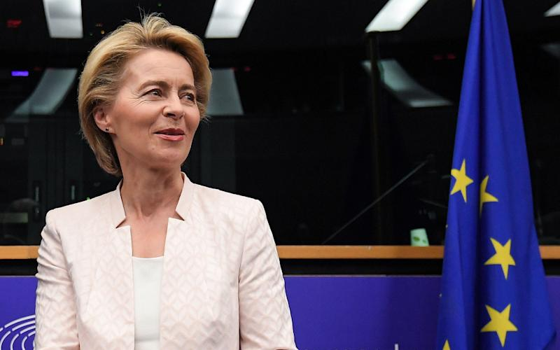 Ursula von der Leyen arrived at the European parliament in Strasbourg on Wednesday as she began campaigning for MEPs' support - AFP