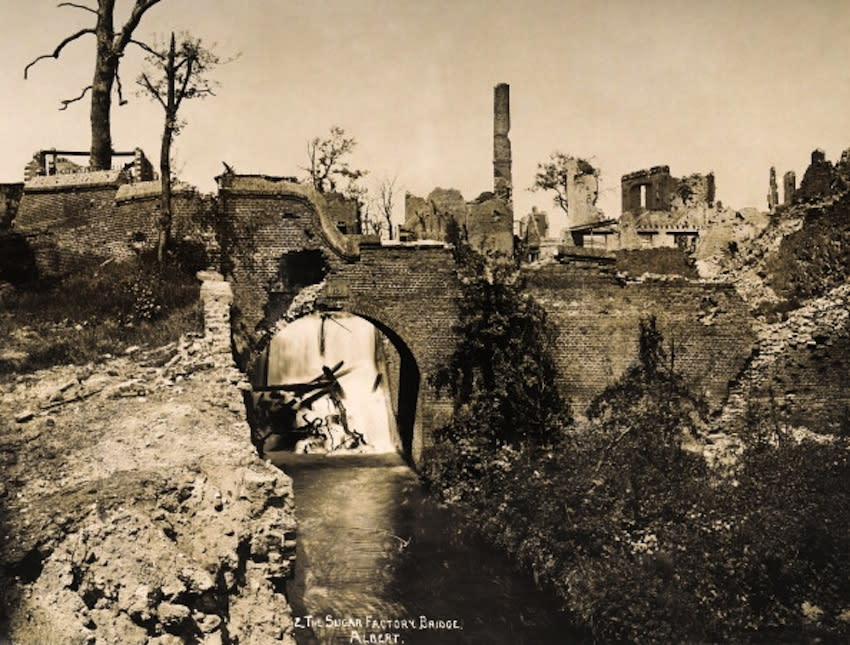 The Sugar Factory Bridge in the town of Albert, in France, photographed soon after the end of World War One, circa March 1919. This image is from a series documenting the damage and devastation that was caused to towns and villages along the Western Front in France and Belgium during the First World War. (Photo by Popperfoto/Getty Images)