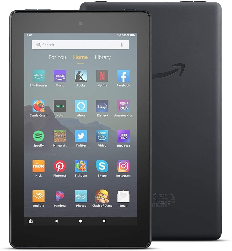 """<p>She can take the <span>Fire 7 Tablet (7"""" Display, 16 GB)</span> ($50) on the go for entertainment or as an assistant.</p>"""