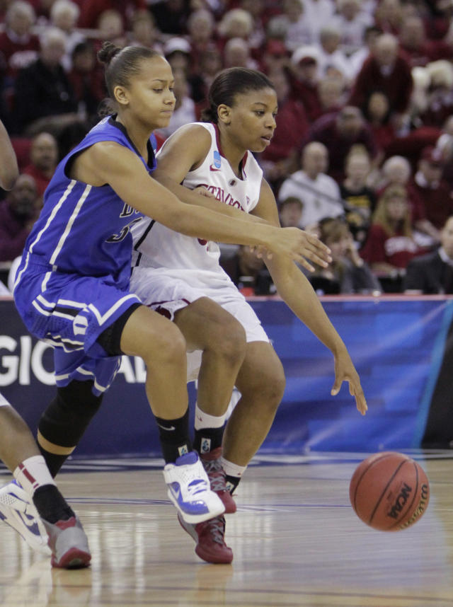 Duke's Shay Selby, left, pressures Stanford's Amber Orrange during the first half of an NCAA women's tournament regional final college basketball game, Monday, March 26, 2012, in Fresno, Calif.(AP Photo/Rich Pedroncelli)