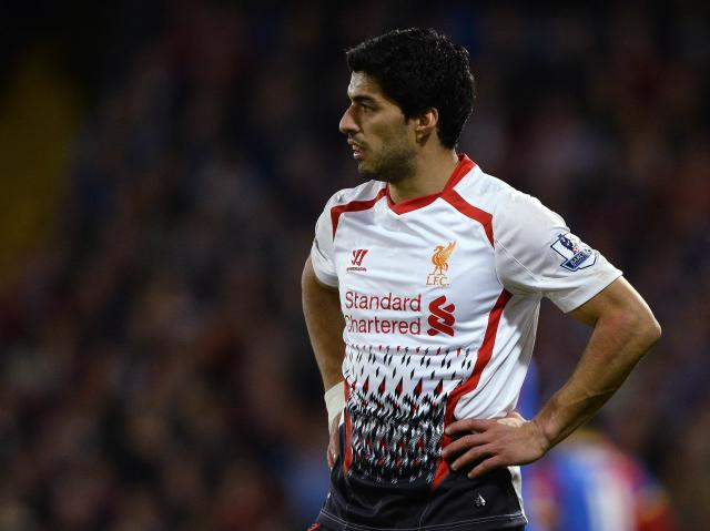 Liverpool's Suarez reacts after Crystal Palace score an equalising goal during their English Premier League soccer match at Selhurst Park in London