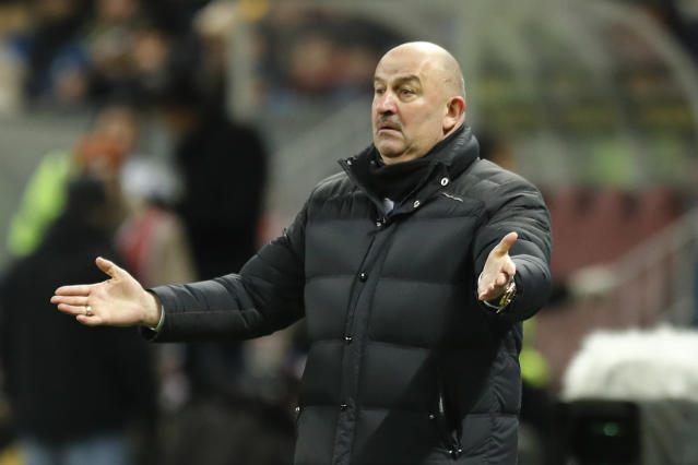 Russia head coach Stanislav Cherchesov gestures during an international friendly soccer match between Russia and Brazil at the Luzhniki stadium in Moscow, Russia, Friday, March 23, 2018. (AP Photo/Pavel Golovkin)