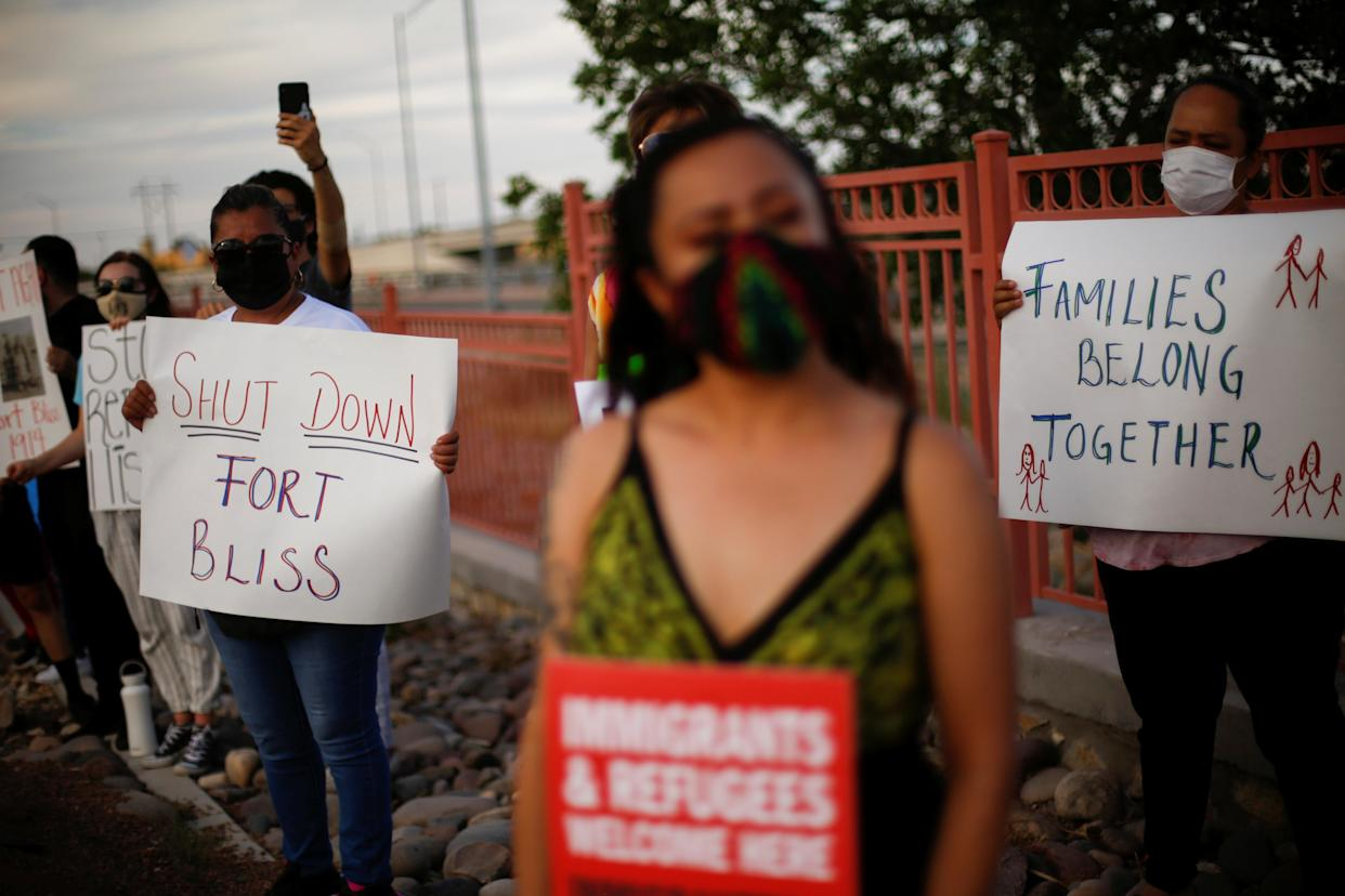 Activists defending the rights of migrants hold a protest near Fort Bliss to call for the end of the detention of unaccompanied minors at the facility in El Paso, Texas on June 8, 2021. (Jose Luis Gonzalez/Reuters)