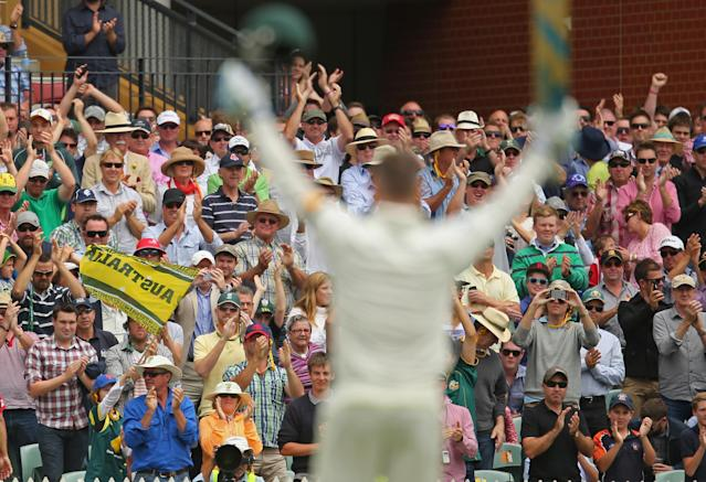 ADELAIDE, AUSTRALIA - DECEMBER 06: The crowd applauds as Michael Clarke of Australia reaches his century during day two of the Second Ashes Test Match between Australia and England at Adelaide Oval on December 6, 2013 in Adelaide, Australia. (Photo by Scott Barbour/Getty Images)