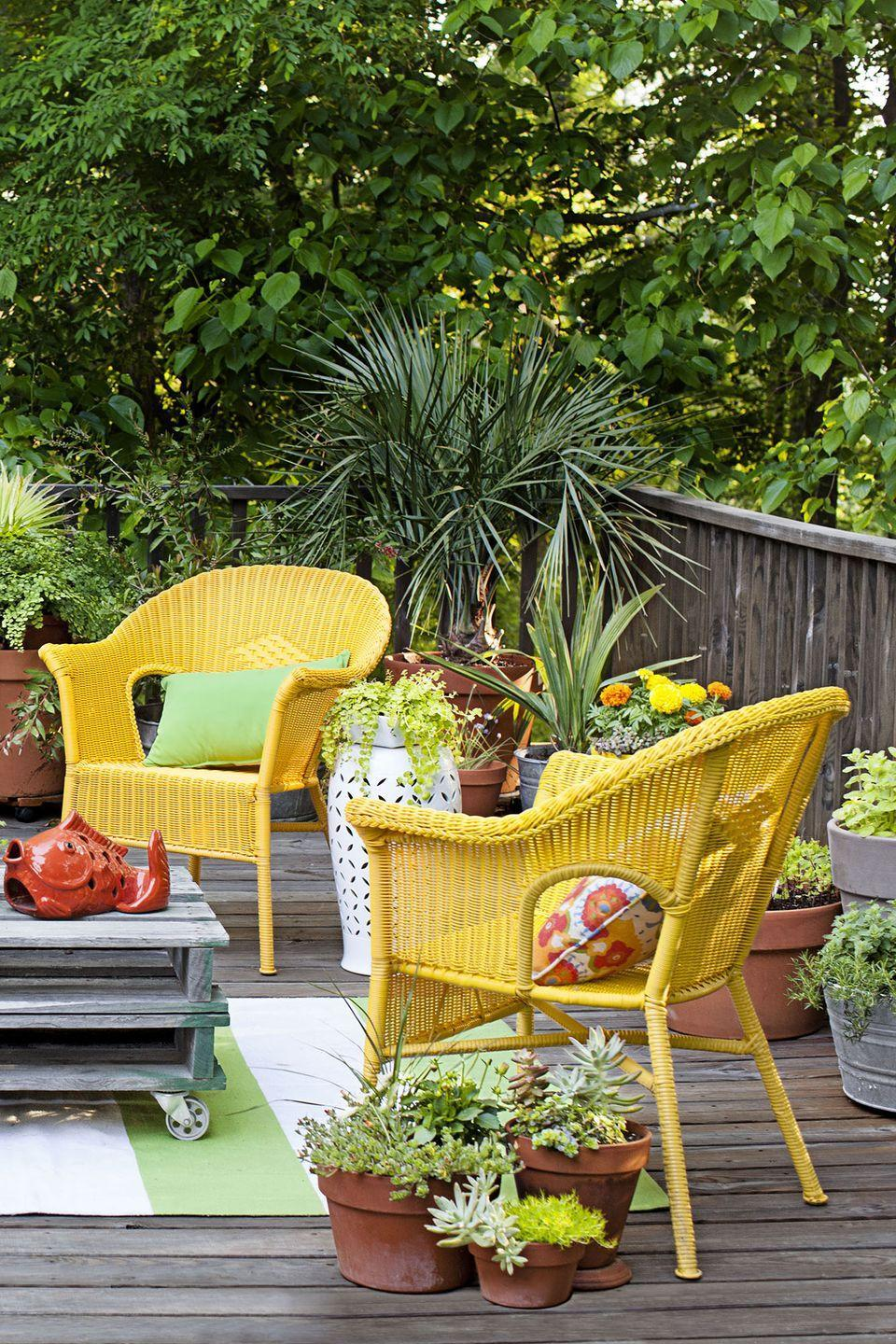 """<p>Boost your backyard's appeal by filling ceramic planters with flowers, succulents, and other plants. And if you want the satisfaction of watching something grow from seed to plant, consider herbs and small vegetables like broccoli and cabbage.</p><p><strong>RELATED:</strong> <a href=""""https://www.goodhousekeeping.com/home/gardening/a20707074/container-gardening-tips/"""" rel=""""nofollow noopener"""" target=""""_blank"""" data-ylk=""""slk:What You Need to Know About Container Gardening"""" class=""""link rapid-noclick-resp"""">What You Need to Know About Container Gardening </a></p>"""