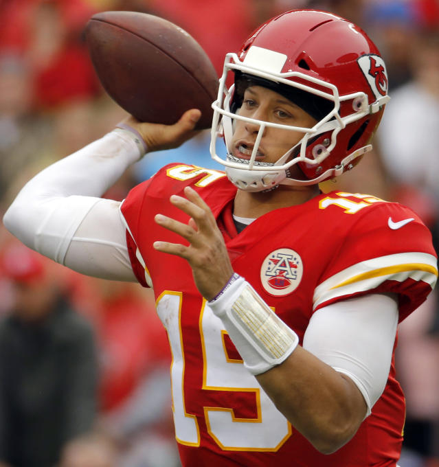 FILE - In this Oct. 7, 2018, file photo, Kansas City Chiefs quarterback Patrick Mahomes (15) throws a pass during the first half of an NFL football game against the Jacksonville Jaguars, in Kansas City, Mo. New England Patriots' Tom Brady, who will retire as possibly the best to ever play the position, faces Kansas Citys Patrick Mahomes, the most electrifying quarterback in the NFL this season, on Sunday. (AP Photo/Charlie Riedel, File)