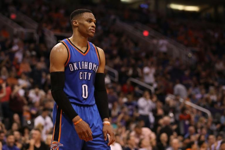 Oklahoma's Russell Westbrook (pictured) remains on pace to join Oscar Robertson as the only players to average a triple-double for a season