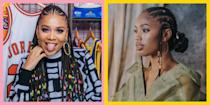 """<p>Protectives like cornrows (or canerows if you're Caribbean like me) come in so handy for when you need to tuck your coils away. Whether it's for a beachy holiday, styling break, or protecting your hair during the cold winter months, cornrows are a great go-to for Afro-textured hair. </p><p>However, just because they're practical, doesn't mean they have to be same-y. In fact, there are so many intricate, beautiful cornrow styles to choose from, you'll be itching to try another one, as soon as you unravel the current one from your scalp. </p><p>If you're new to the cornrow styling game there are a few things to note, especially if, like me, as a child your cornrows were dosed in Blue Magic a couple times a week. </p><p>First, make sure you have a scalp spray or serum in your product stash. I love <a href=""""https://www.beautybay.com/p/shea-moisture/jojoba-oil-and-ucuuba-butter-track-tension-relief-serum/"""" rel=""""nofollow noopener"""" target=""""_blank"""" data-ylk=""""slk:Shea Moisture's Jojoba Oil & Ucuuba Butter Tension Relief Serum, £10.75"""" class=""""link rapid-noclick-resp"""">Shea Moisture's Jojoba Oil & Ucuuba Butter Tension Relief Serum, £10.75</a>. It's essential to have something that'll soothe any dry and itchy feels – this is key so you avoid scratching your scalp and disrupting the style that took hours to complete. Remember, too much scratching will cause frizz and shorten the life of your look. </p><p>Then, when your look starts to look less than fresh, you can extend it a little longer by slicking your edges with some <a href=""""https://www.cosmopolitan.com/uk/beauty-hair/hair/g33308767/best-edge-control-products/"""" rel=""""nofollow noopener"""" target=""""_blank"""" data-ylk=""""slk:edge control"""" class=""""link rapid-noclick-resp"""">edge control</a>. It'll give the illusion of a finesse when your look is... ummm... finished. </p><p>And finally, wear a damn headscarf. Satin or silk pillowcases and bonnets are also great, but a headscarf sits firmly on your style and therefore you're less like t"""