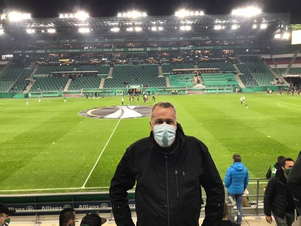 Arsenal season ticket holder John Williamson made the journey to watch the Europa League game against Rapid Vienna.