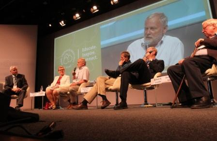 Four Nobel Laureates discussed a wide range of energy storage and conversion problems and possible solutions on Wednesday. Photo by Kathleen Raven
