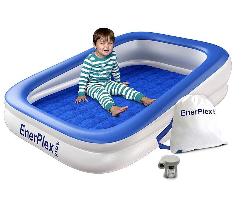EnerPlex Kids Inflatable Toddler Travel Bed with High Speed Pump. (Photo: Amazon)