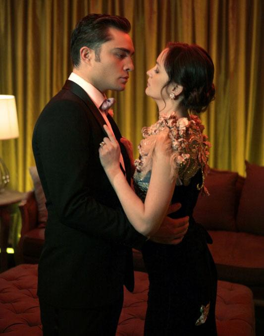 """<b>BEST MUSIC CUE:<br>Adele's """"Rolling in the Deep""""</b> (Season 4, Episode 22)<br><br>Blair and Chuck's tortured romance seemed to finally come to an end in the Season 4 finale when he pushed her into Prince Louis's arms. But before that, they crashed a random bar mitzvah, danced, laughed, and made love. For this last blissful tryst, the lyrics were especially apt: """"The scars of your love remind me of us / They keep me thinking that we almost had it all."""""""
