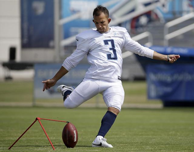 FILE -- In this July 31, 2014 file photo, Tennessee Titans kicker Maikon Bonani practices during NFL football training camp Thursday, July 31, 2014, in Nashville, Tenn. Bonani fell 35 feet from a theme park gondola in an accident that left him with broken vertebra in his back and cost him a season at South Florida. Now the native of Brazil is in Tennessee for a second training camp and competing to be the Titans' new kicker. (AP Photo/Mark Humphrey, File)