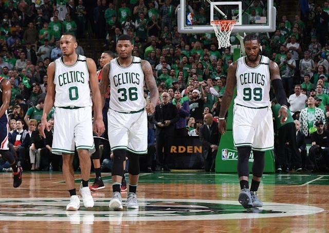 "<a class=""link rapid-noclick-resp"" href=""/nba/players/4750/"" data-ylk=""slk:Avery Bradley"">Avery Bradley</a>, <a class=""link rapid-noclick-resp"" href=""/nba/players/5317/"" data-ylk=""slk:Marcus Smart"">Marcus Smart</a> and Jae Crowder are reportedly all on the trade block. (Getty)"