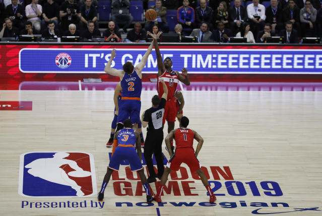 The NBA traveled to London on Thursday and gave locals one of the more bizarre endings of the NBA season. (AP)