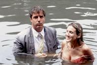 "<p>In season 3, episode 18 titled, ""Cock-a-Doodle-Do"" Carrie and Big fall into the Central Park boating pond. In <a href=""https://www.amazon.com/Sex-City-Kiss-Amy-Sohn/dp/B001IV5W26/?tag=syn-yahoo-20&ascsubtag=%5Bartid%7C2139.g.34426263%5Bsrc%7Cyahoo-us"" rel=""nofollow noopener"" target=""_blank"" data-ylk=""slk:Sex and the City: Kiss and Tell"" class=""link rapid-noclick-resp""><u><em>Sex and the City: Kiss and Tell</em></u></a>, Parker reveals they did the fall in one take. She also cut her foot while filming the scene — <span class=""redactor-invisible-space""> having to get a </span>tetanus shot right after they finished. </p>"