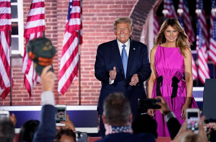 President Donald Trump and first lady Melania Trump during the Republican National Convention at Fort McHenry on August 26, 2020.