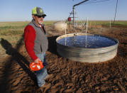Tim Black holds a container of unscented laundry detergent near a stock tank on his Muleshoe, Texas, farm on Monday, April 19, 2021. The longtime corn farmer now raises cattle and has planted some of his land in wheat and native grasses because the Ogallala Aquifer, used to irrigate crops, is drying up. (AP Photo/Mark Rogers)