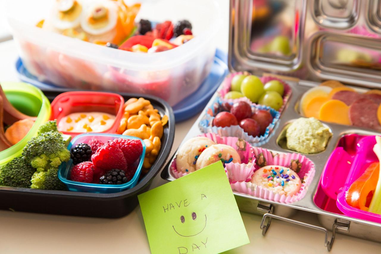 """<p>It's always a struggle to find <a href=""""https://www.goodhousekeeping.com/ideas-kids-school-lunches/"""" target=""""_blank"""">inspiration for a school lunch</a>, but bento boxes make things a little easier. Offering a few, small samples of different foods, parents can mix things up and get kids to try something new while still letting them have their everyday, standby favorites. </p><p>""""A bento-box lunch style is the perfect way to introduce some newer flavors, foods, or ingredients to kids in the context of foods that they <em>already </em>love,"""" says <a href=""""https://www.goodhousekeeping.com/author/11834/jaclyn-london-ms-rd-cdn/"""" target=""""_blank"""">Jaclyn London</a>, MS, RD, CDN, Director of the Nutrition Lab at the <a href=""""https://www.goodhousekeeping.com/institute/about-the-institute/a16265/about-good-housekeeping-research-institute/"""" target=""""_blank"""">Good Housekeeping Institute</a>. """"It gives kids the flexibility to choose how much of any given food or snack they want to eat, but also puts parents in the driver's seat by providing wholesome, nutritious options that are just <em>slightly </em>out of the norm or current comfort zone. It's also a super smart way to get new veggies and fruit slices into that lunch in fun and creative ways — think dips, mini-sandwiches, bean-flour-based baked goods, and fruit- or veggie-based chips to bring in nutritional benefits with similar flavors and textures to what they might already be used to."""" Here, some inspiration to get you started.</p>"""